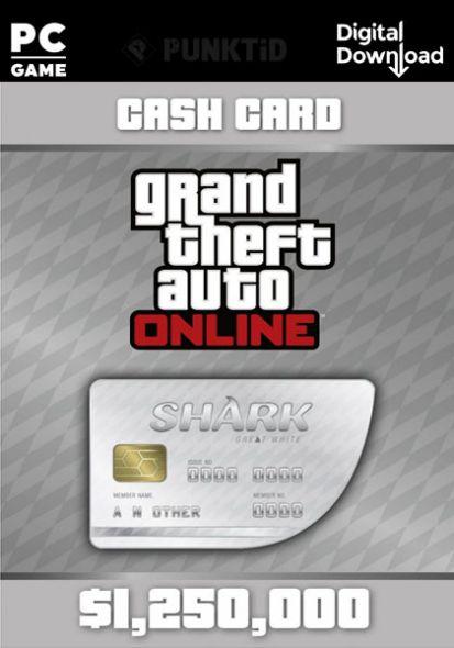 GTA V Online Cash Card Great White Shark 1,250,000$ PC