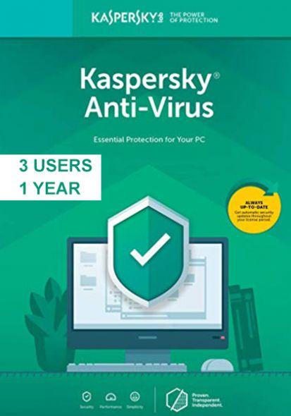 Kaspersky Anti-Virus 2019 (3 Users, 1 Year)