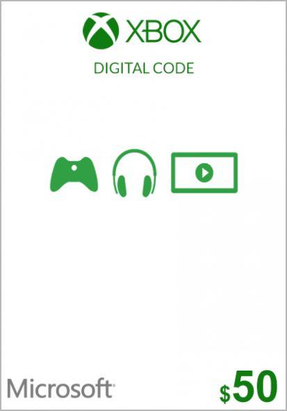 USA Xbox 50 Dollar Gift Card (Xbox One & 360)