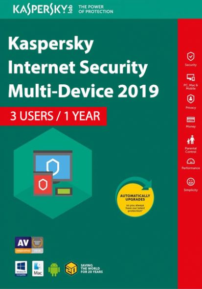Kaspersky Internet Security Multi-Device 2019 (3 Users , 1 Year)