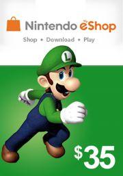 USA Nintendo 35 Dollar eShop Gift Card